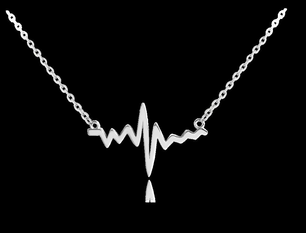 MINET Stříbrný náhrdelník z lásky MINET HEARTBEAT JMAN0152SN45