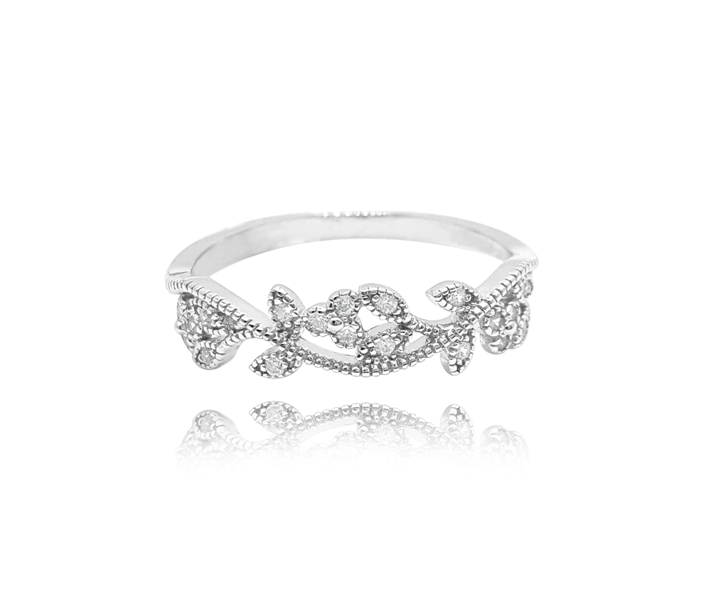 Rozkvetlý stříbrný prsten MINET FLOWERS s bílými zirkony vel. 56