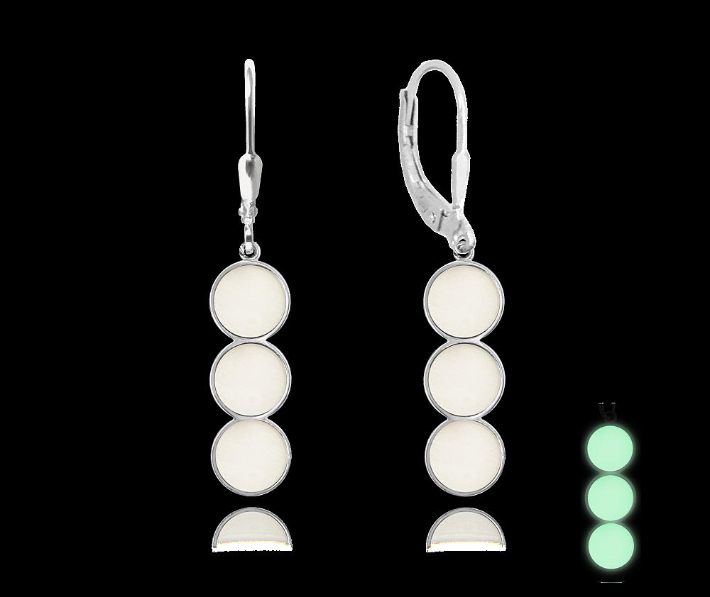 MINET Svítící bílé stříbrné náušnice MINET JMAS0078WE00