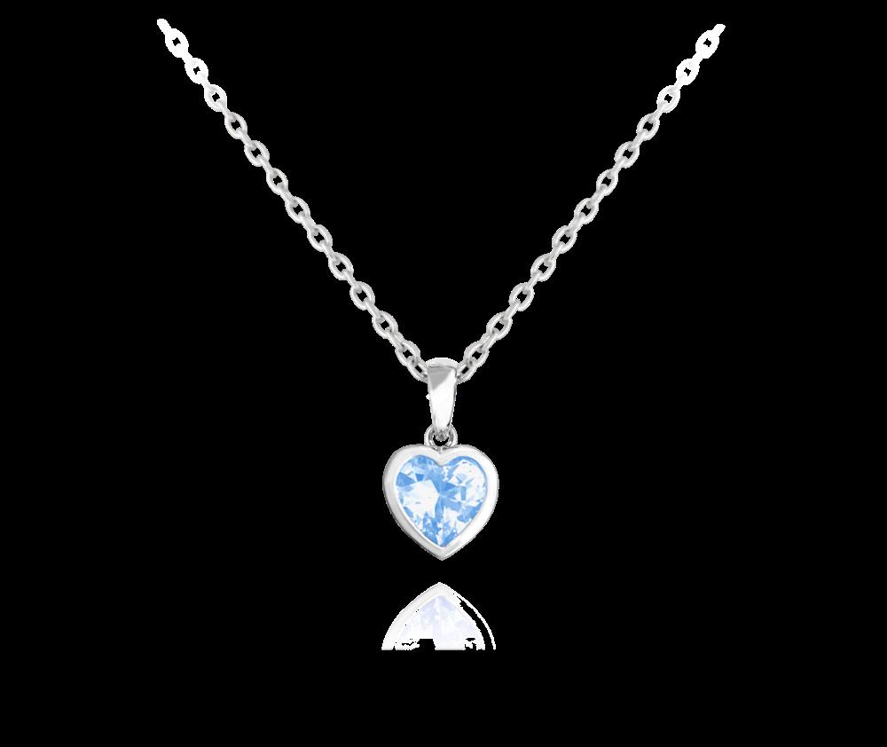 Stříbrný náhrdelník MINET SRDÍČKO s modrým zirkonem