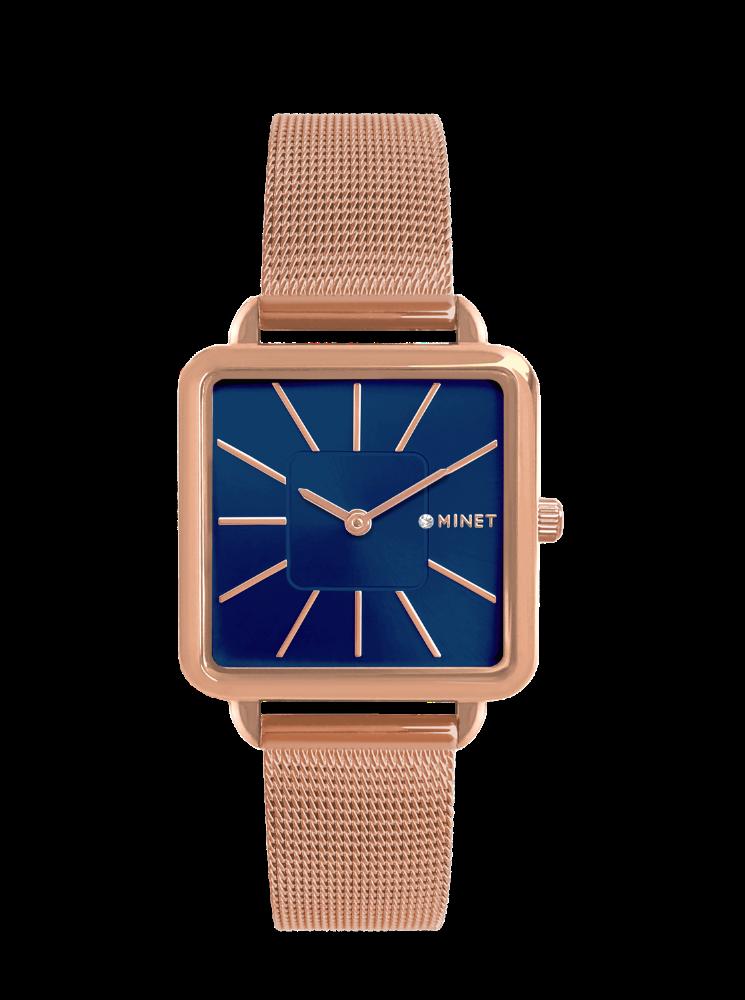Rose gold dámské hodinky MINET OXFORD BLUE ROSE