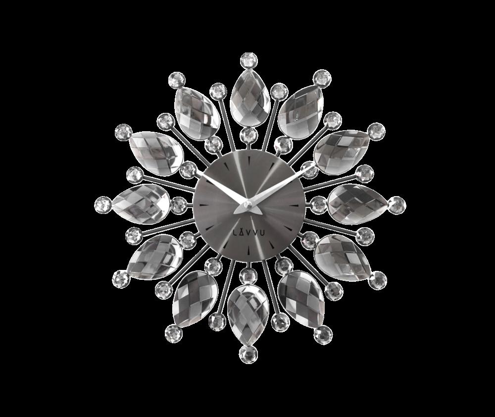 Černé antracitové hodiny LAVVU CRYSTAL Flower
