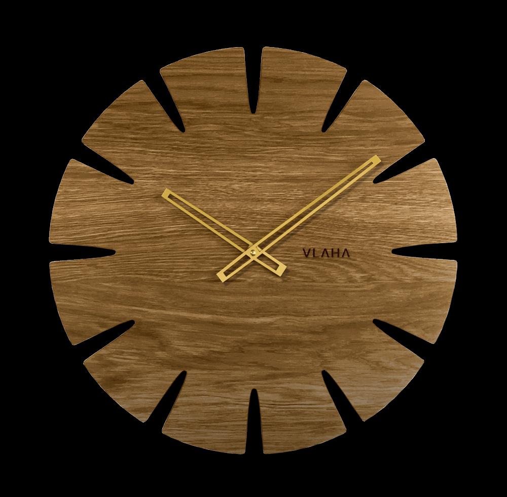 LAVVU Velké dubové hodiny VLAHA ORIGINAL vyrobené v Čechách se zlatými ručkami VCT1030