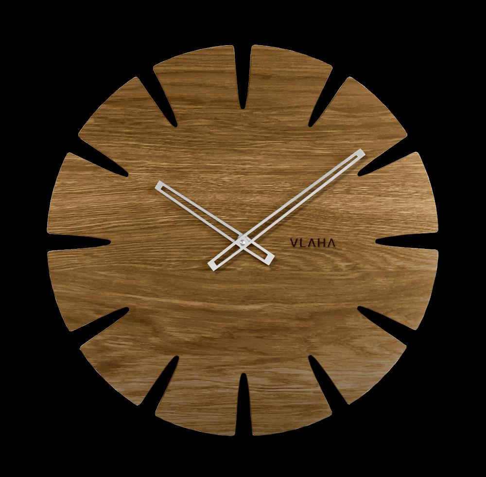 LAVVU Velké dubové hodiny VLAHA ORIGINAL vyrobené v Čechách se stříbrnými ručkami VCT1031
