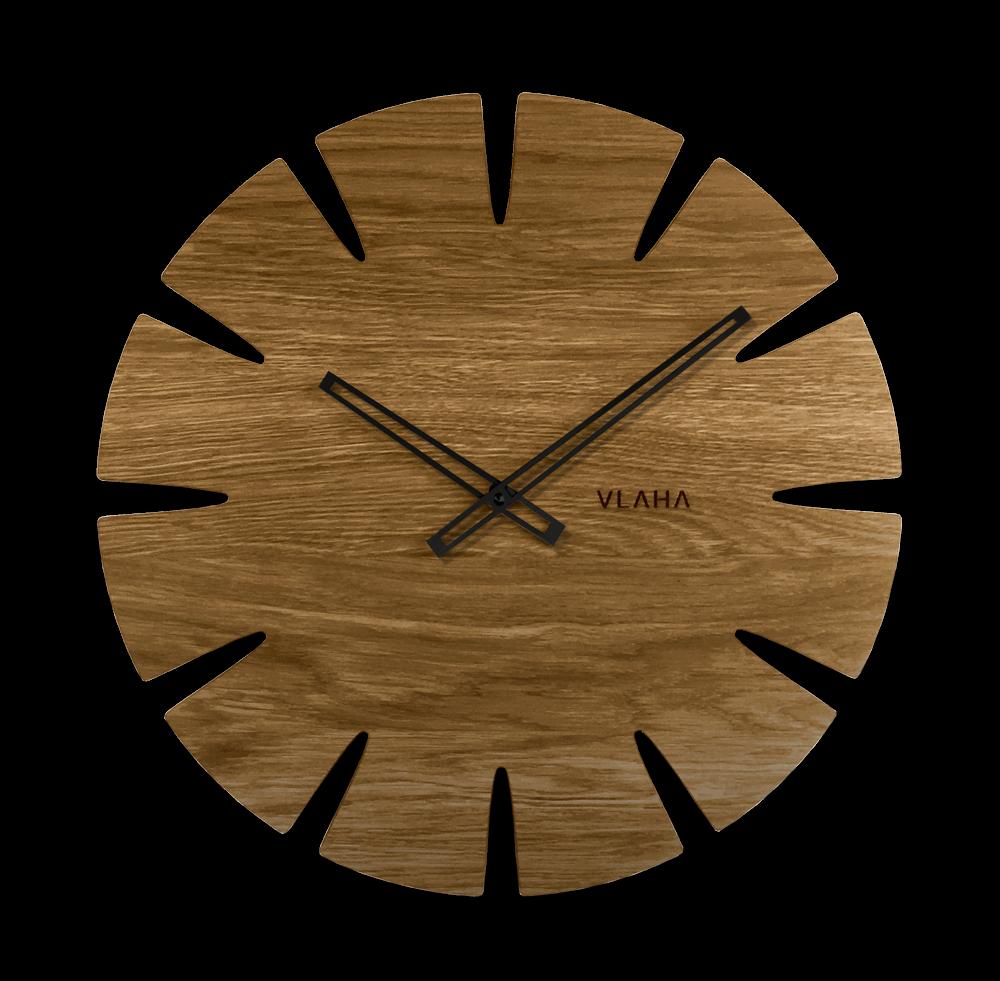 LAVVU Velké dubové hodiny VLAHA ORIGINAL vyrobené v Čechách s černými ručkami VCT1032