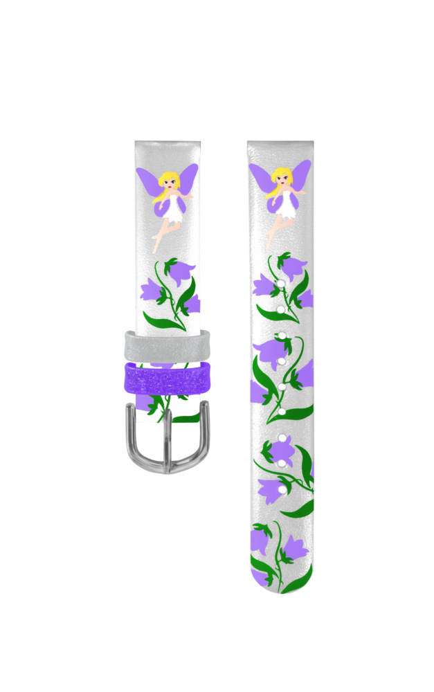 Stříbrný řemínek s fialovými vílami k dětským hodinkám CLOCKODILE
