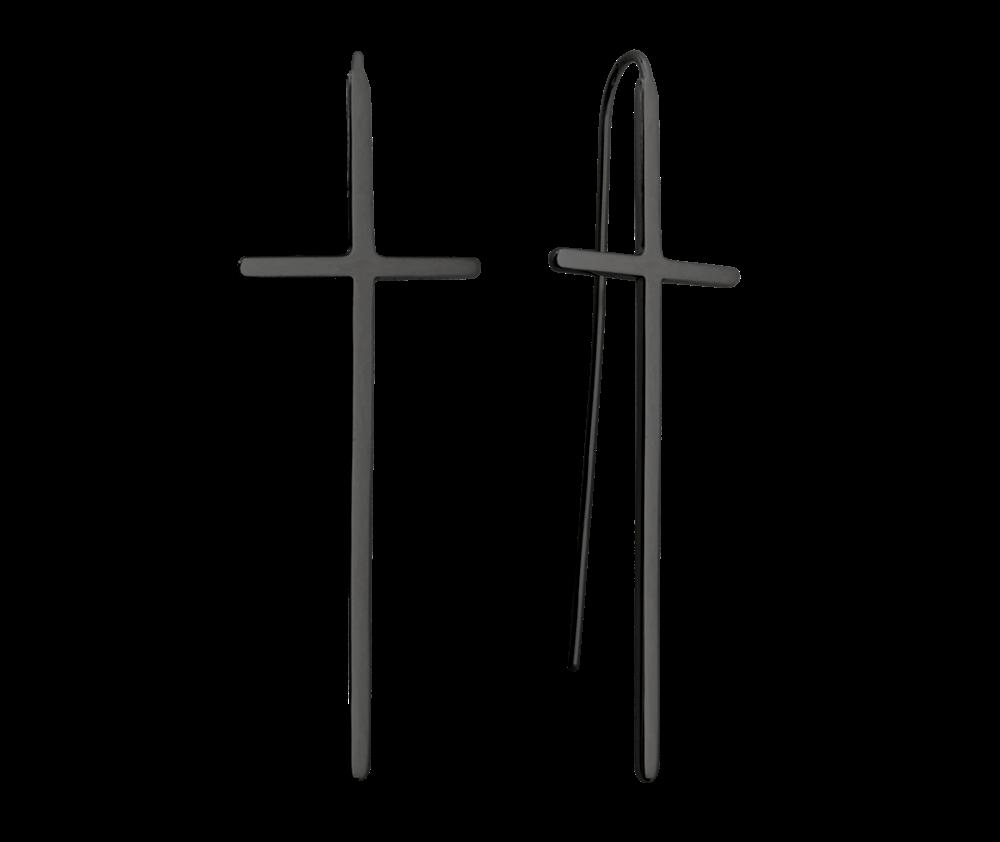 Luxusní černé stříbrné náušnice MINET KŘÍŽE