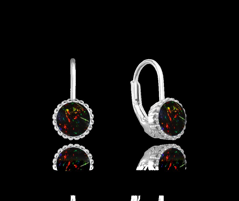 MINET Stříbrné náušnice MINET s černými opálky JMAS0072BE00