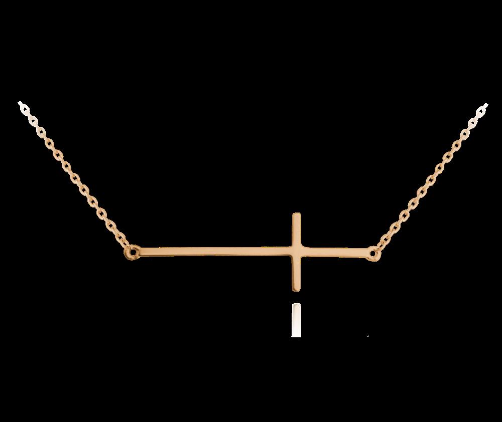 Rose gold stříbrný náhrdelník MINET KŘÍŽ ležatý