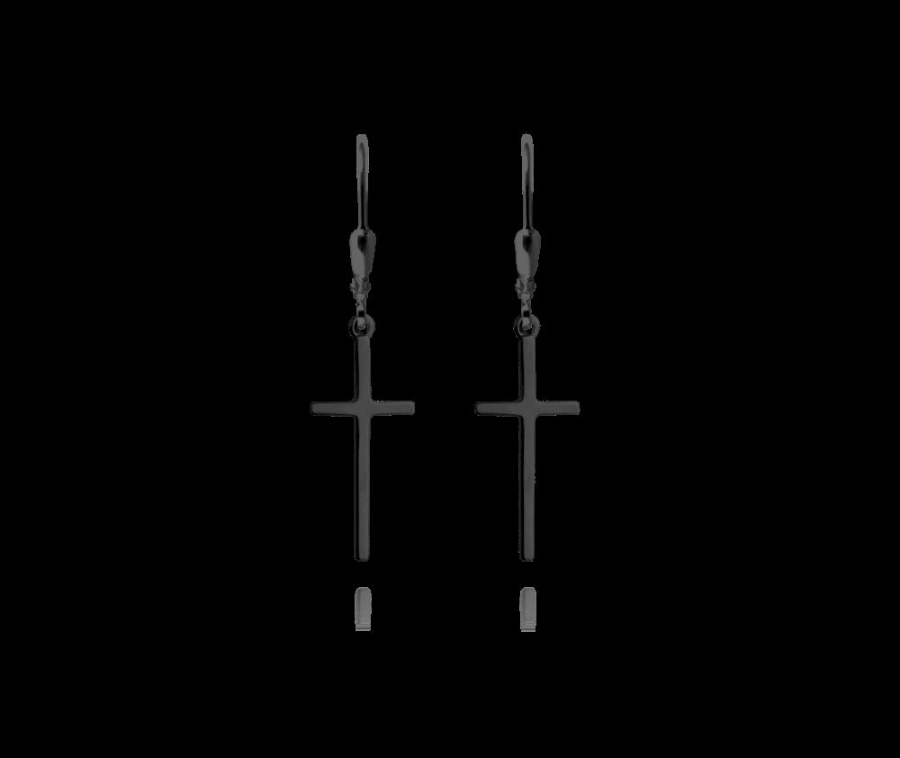Černé stříbrné náušnice MINET KŘÍŽE