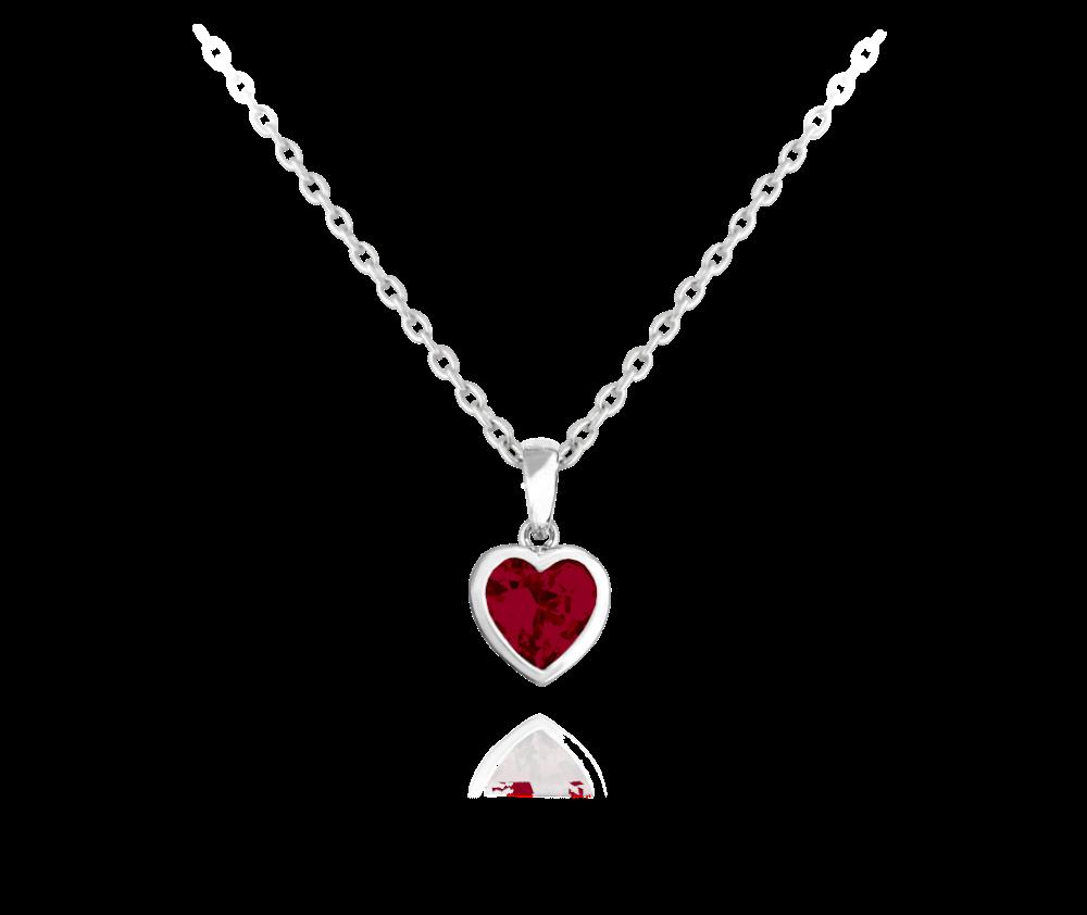 Stříbrný náhrdelník MINET SRDÍČKO s červenými zirkonem