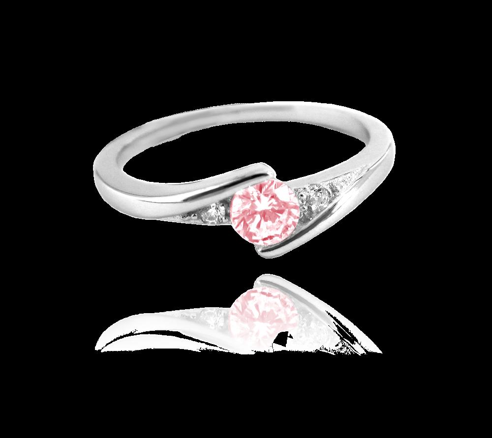Elegantní stříbrný prsten MINET s růžovým zirkonem vel. 57