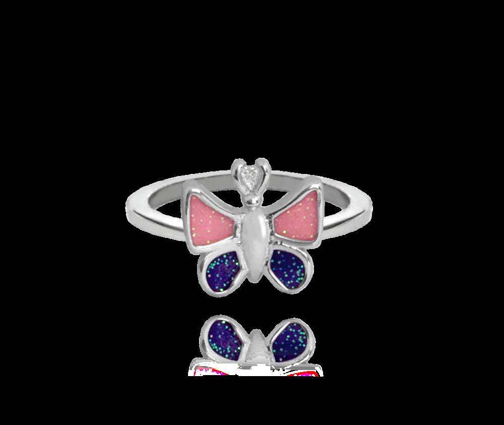 Třpytivý stříbrný prsten MINET MOTÝLEK vel. 46