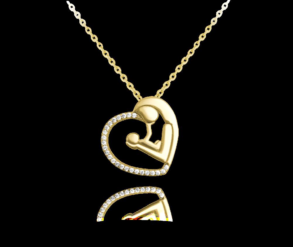 Pozlacený stříbrný náhrdelník MINET MADONA s bílými zirkony
