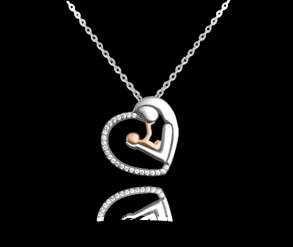 Stříbrno-růžový náhrdelník MINET MADONA s bílými zirkony