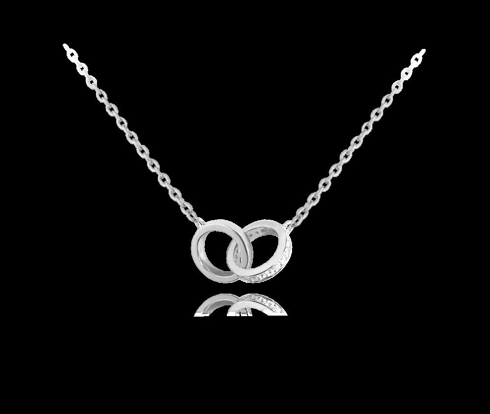 Stříbrný náhrdelník MINET spojené kroužky se zirkony