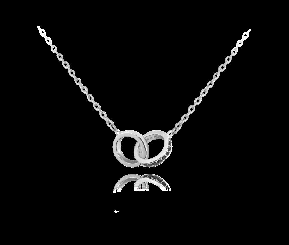 Stříbrný náhrdelník MINET spojené kroužky s černými zirkony
