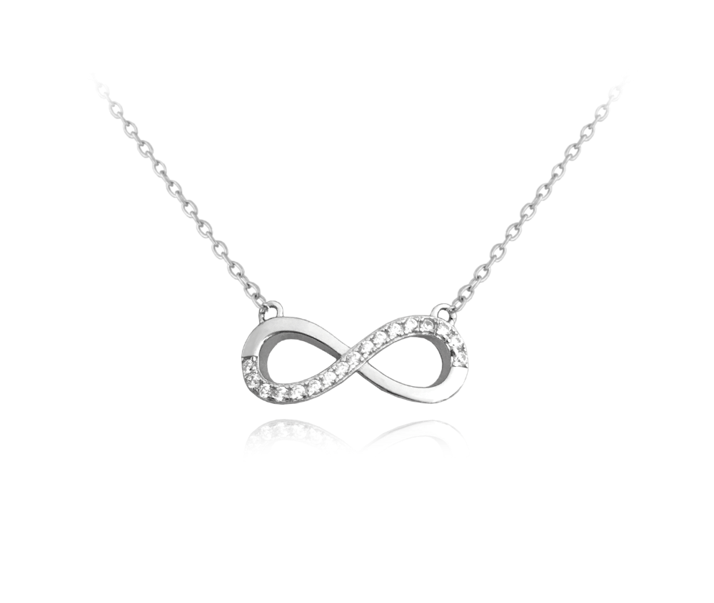 MINET Stříbrný náhrdelník MINET NEKONEČNO s bílými zirkony JMAN0076SN45