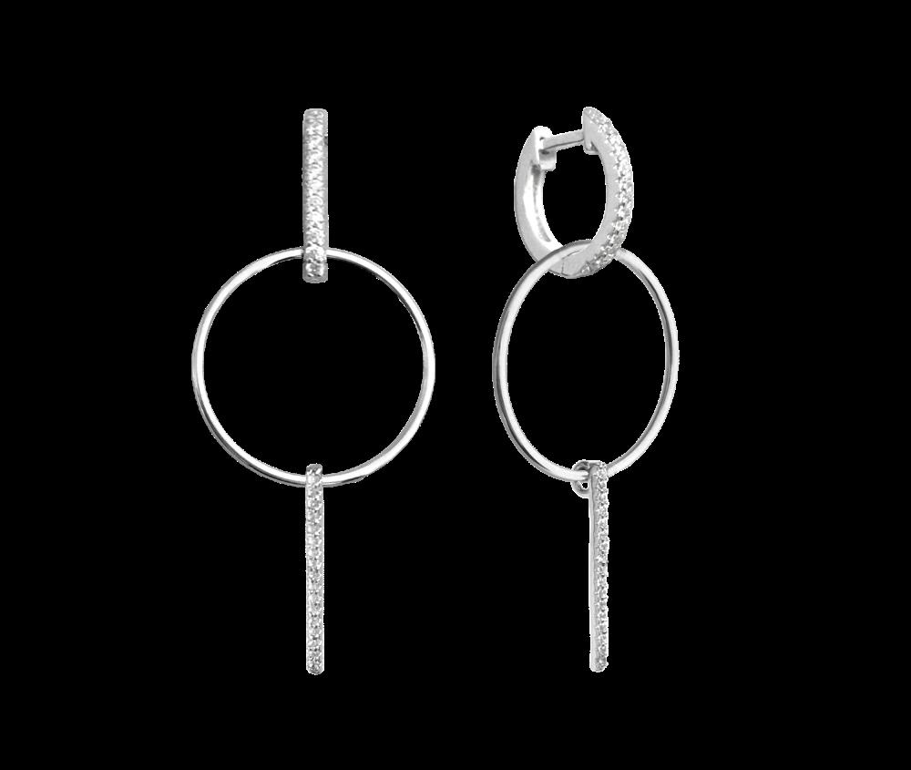 Kruhové stříbrné náušnice MINET s bílými zirkony
