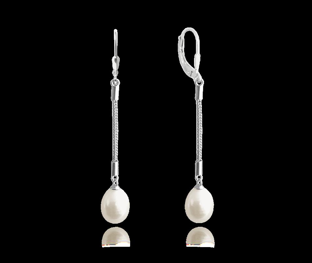MINET Stříbrné visací náušnice MINET s přírodními bílými perlami JMAS7019WE00