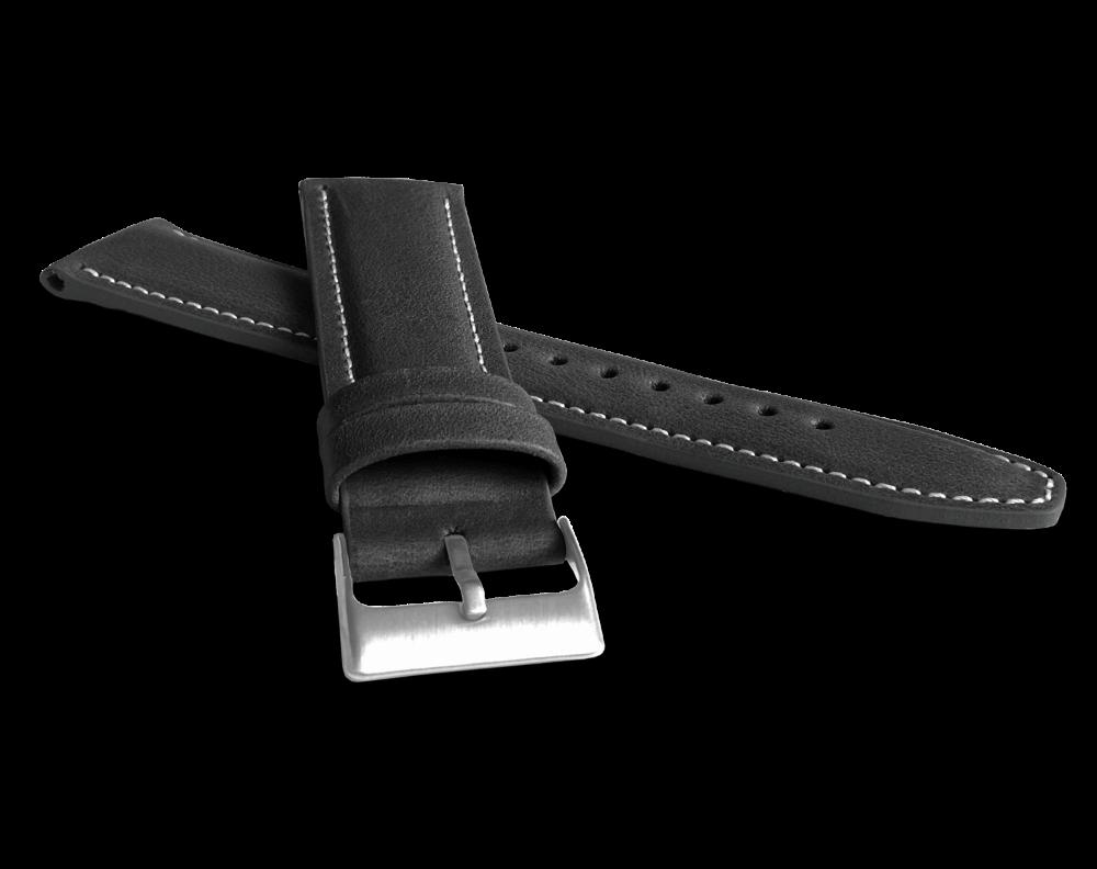 LAVVU Polstrovaný černý prošitý řemínek LAVVU CLASSIC z luxusní kůže Top Grain - 24 LSKUB24