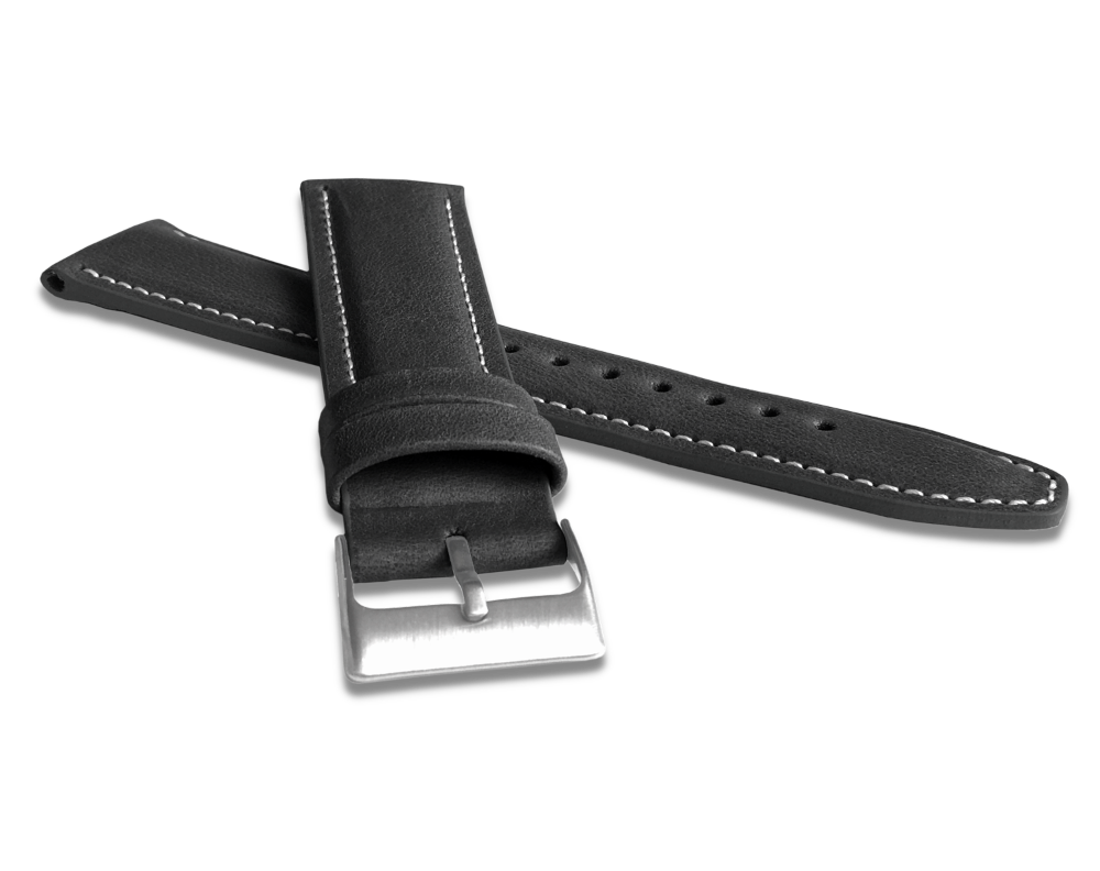 Polstrovaný černý prošitý řemínek LAVVU CLASSIC z luxusní kůže Top Grain - 26