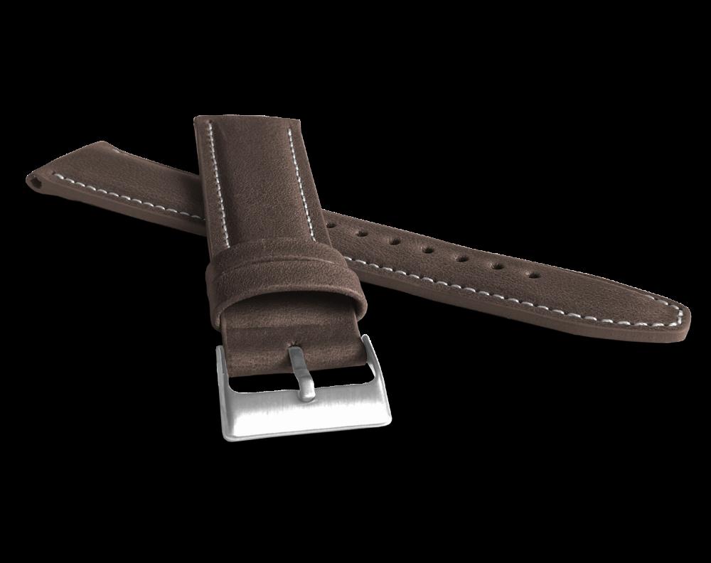 LAVVU Polstrovaný tmavě hnědý prošitý řemínek LAVVU CLASSIC z luxusní kůže Top Grain - 22 LSKUC22