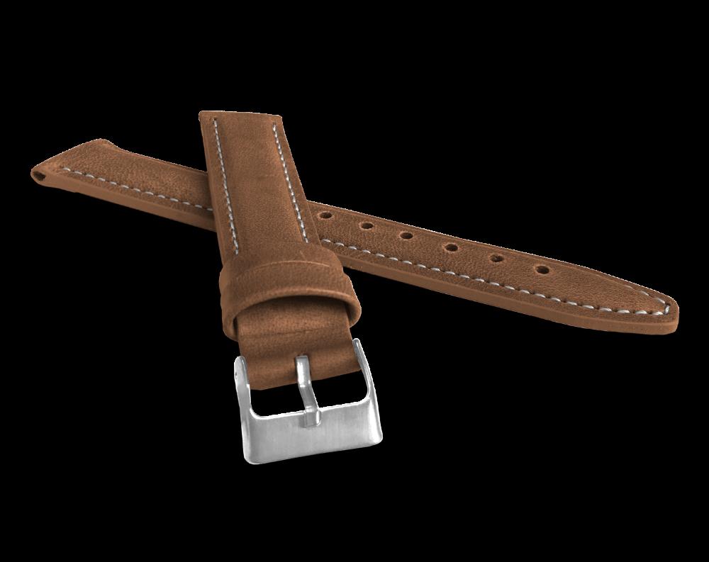 LAVVU Polstrovaný hnědý prošitý řemínek LAVVU CLASSIC z luxusní kůže Top Grain - 18 LSKUE18