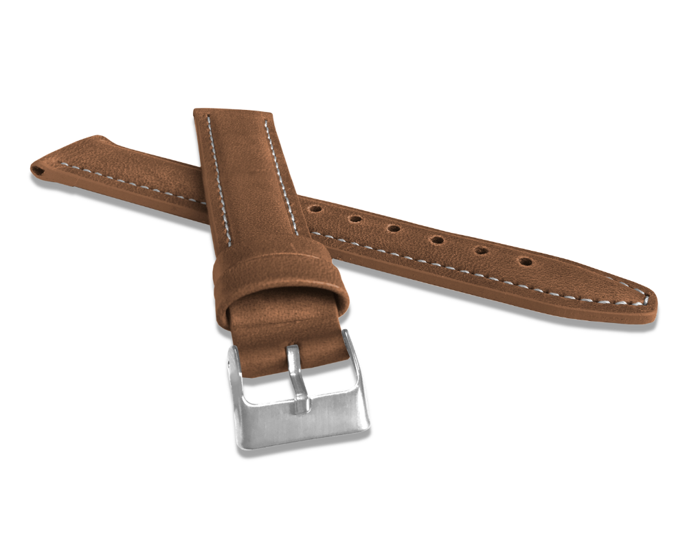 LAVVU Polstrovaný hnědý prošitý řemínek LAVVU CLASSIC z luxusní kůže Top Grain - 20 LSKUE20
