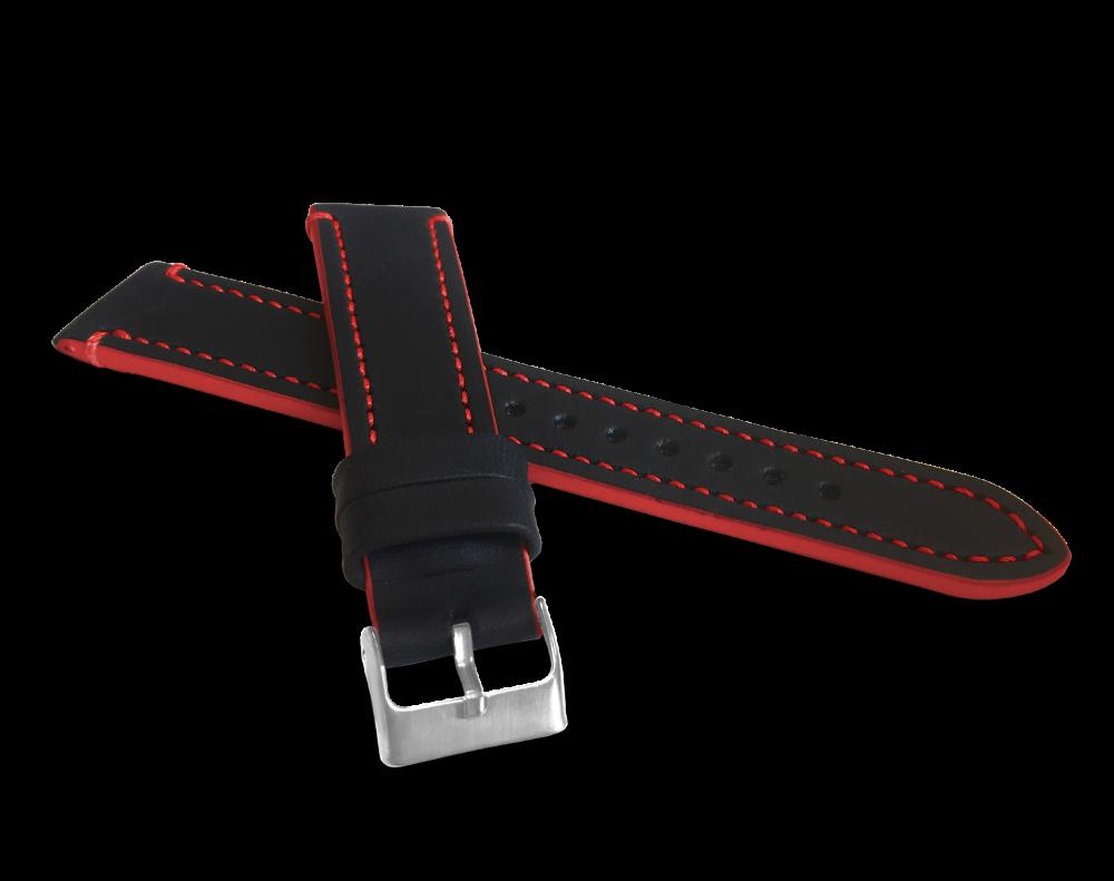 Červeně prošitý řemínek LAVVU TAILOR z luxusní kůže Top Grain - 20