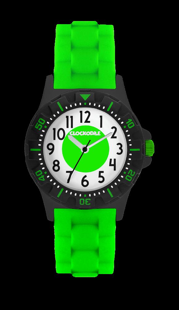 Svítící neonově zelené sportovní dětské chlapecké hodinky CLOCKODILE SPORT 3.0
