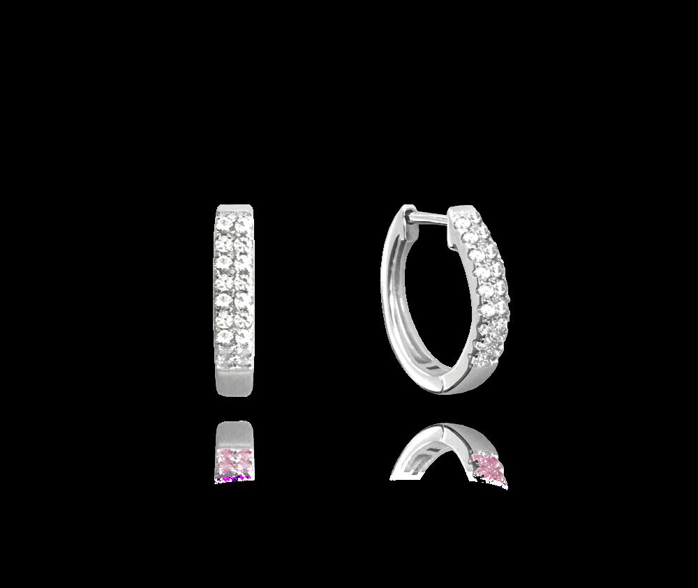 MINET Třpytivé stříbrné náušnice MINET KROUŽKY s bílými zirkony JMAN0182SE00