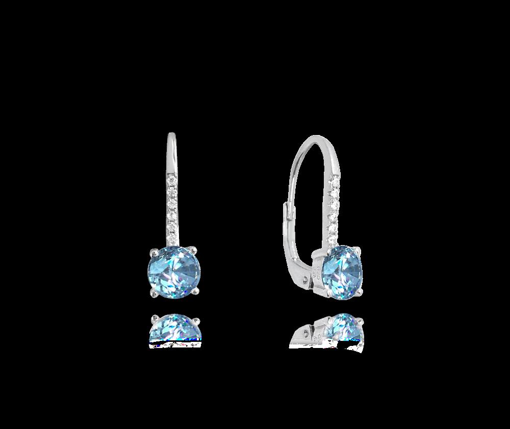 MINET Elegantní stříbrné náušnice MINET se světle modrými a bílými zirkony JMAN0185AE00