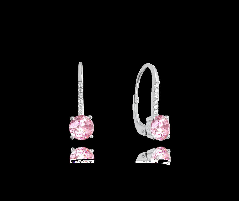 Elegantní stříbrné náušnice MINET s růžovými a bílými zirkony