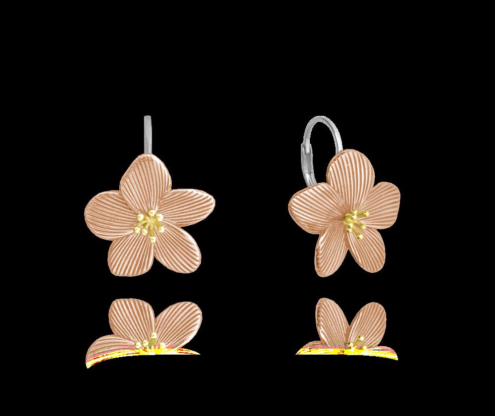 Rose gold rozkvetlé stříbrné náušnice MINET FLOWERS