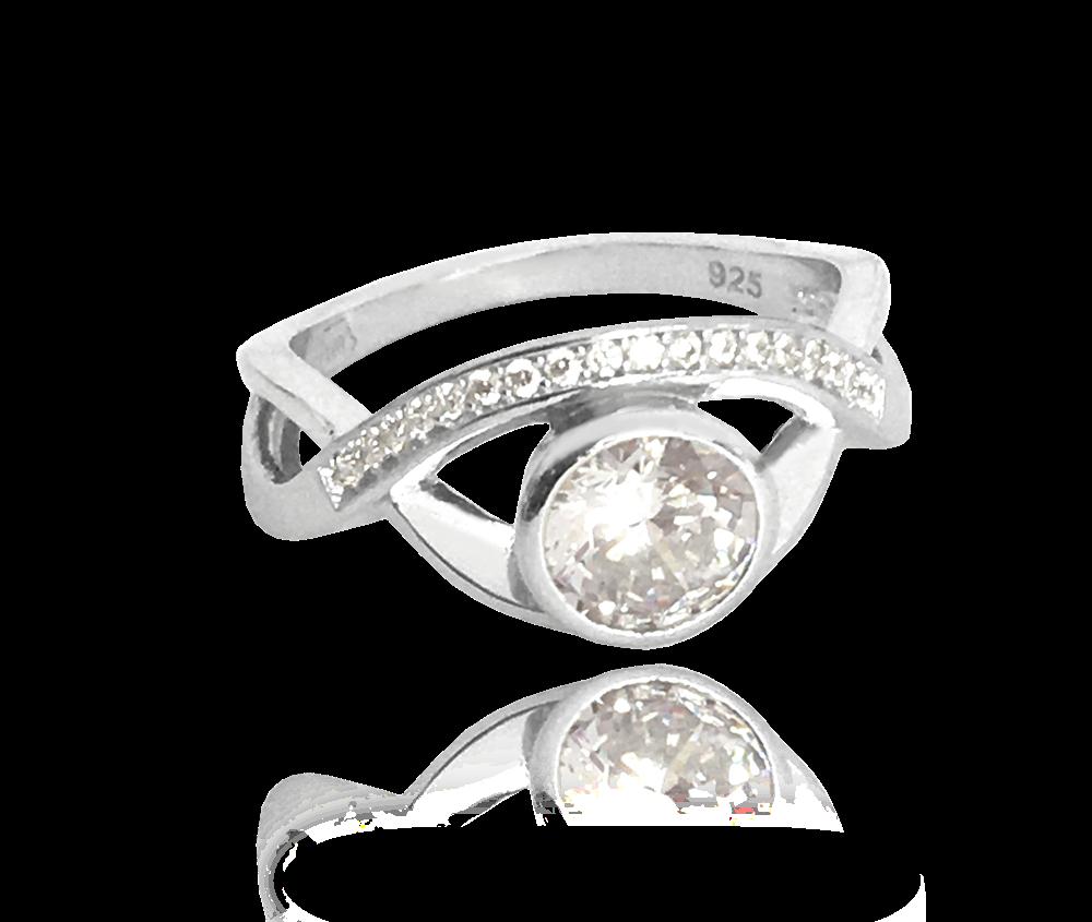Stříbrný zvlněný prsten MINET s velkými bílými zirkony vel. 51