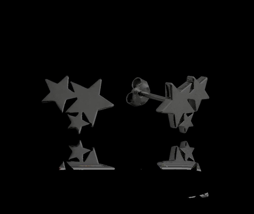 MINET Černé stříbrné náušnice MINET HVĚZDIČKY JMAN0200BE00
