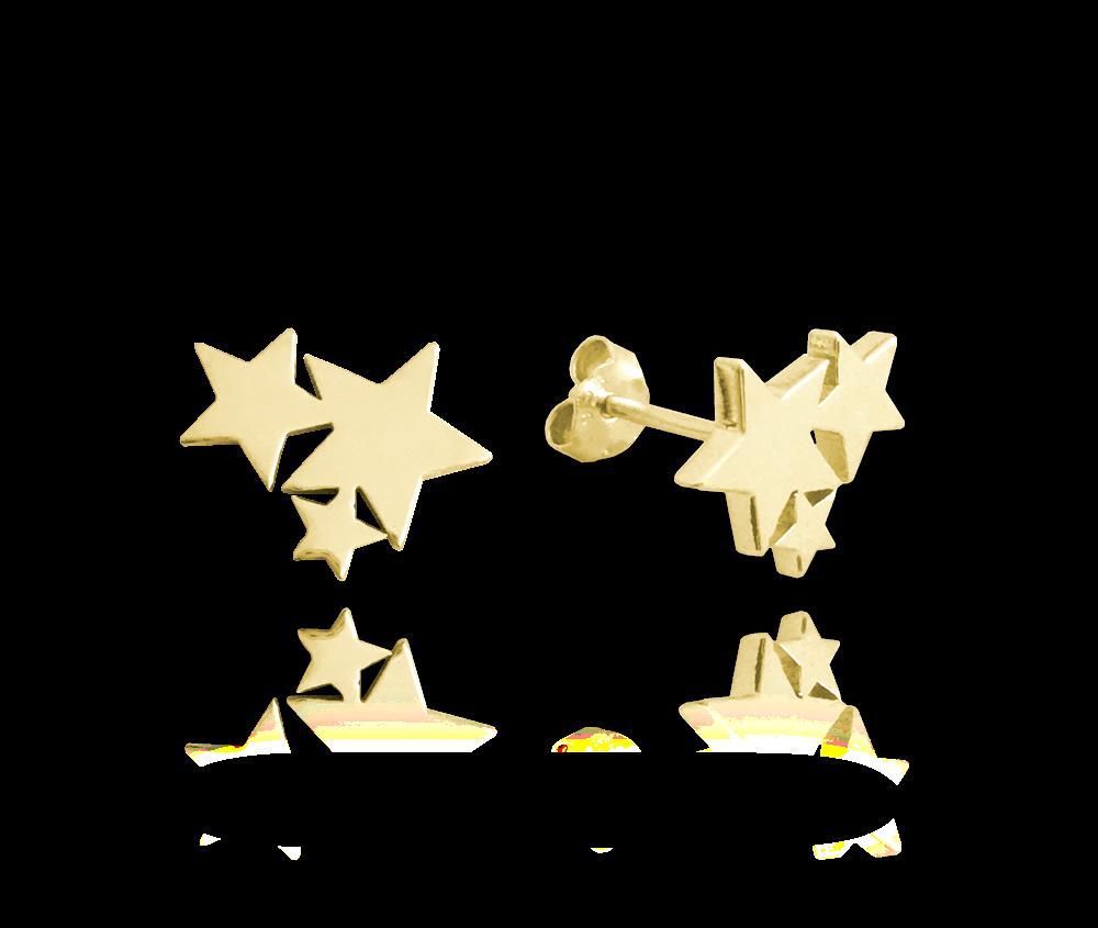 MINET Pozlacené stříbrné náušnice MINET HVĚZDIČKY JMAN0200GE00