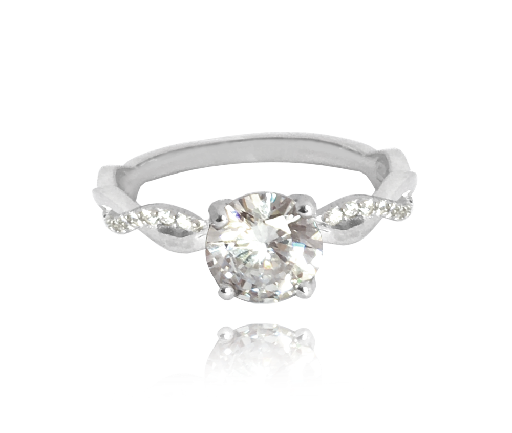 Romantický stříbrný prsten MINET s bílými zirkony vel. 48