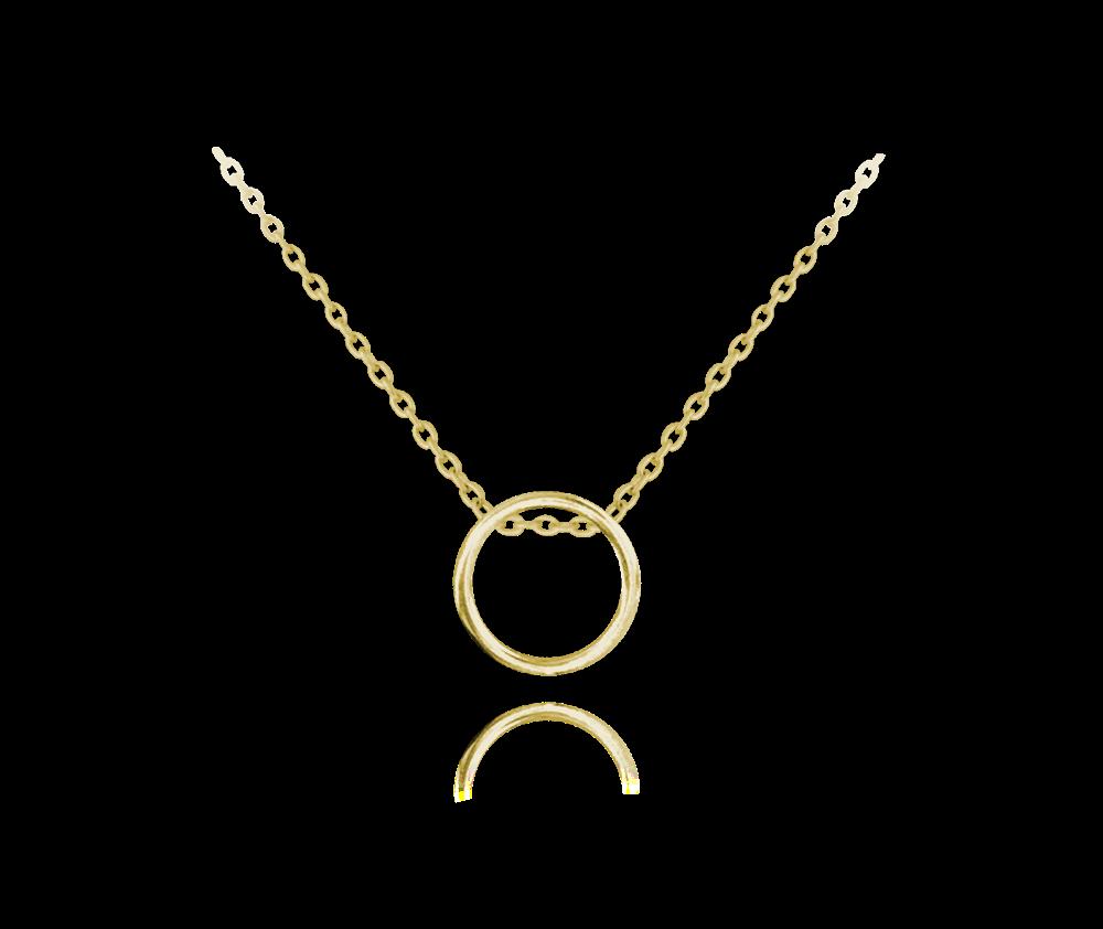 Minimalistický pozlacený stříbrný náhrdelník MINET KROUŽEK