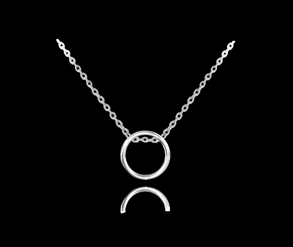 MINET Minimalistický stříbrný náhrdelník MINET KROUŽEK JMAS0089SN45