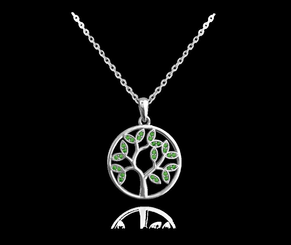 MINET Stříbrný náhrdelník MINET STROM ŽIVOTA s zelenými zirkony JMAS5025GN45
