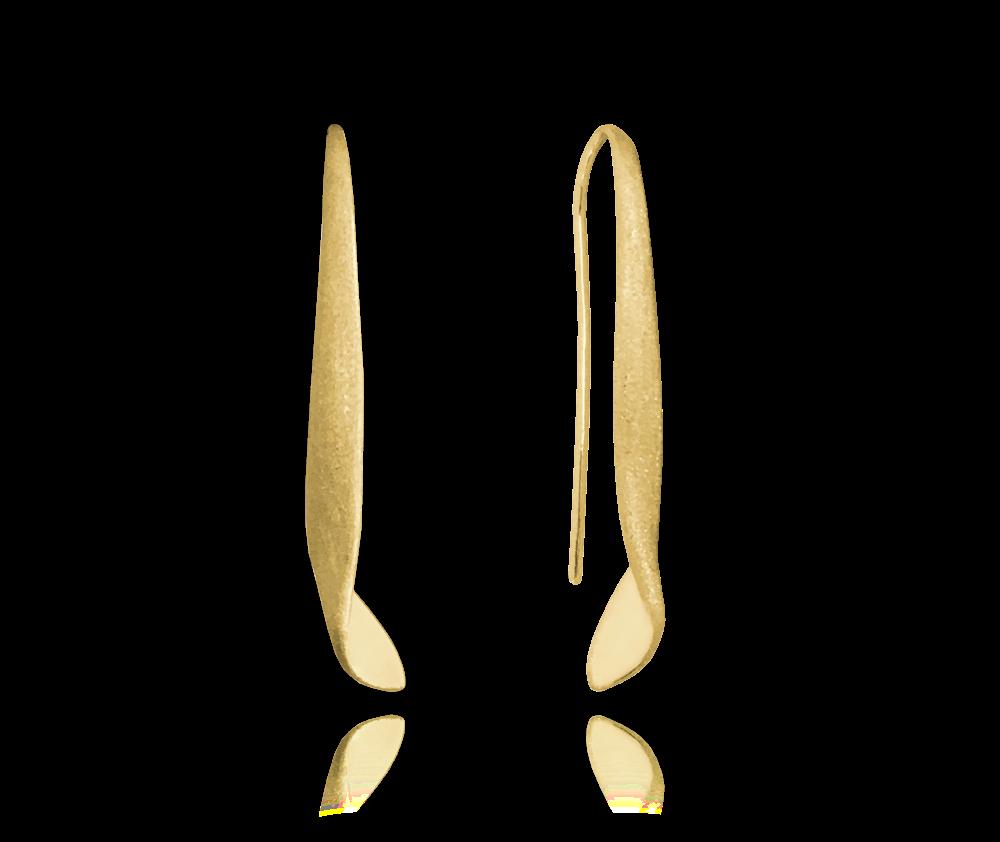 Matné kroucené pozlacené stříbrné náušnice MINET