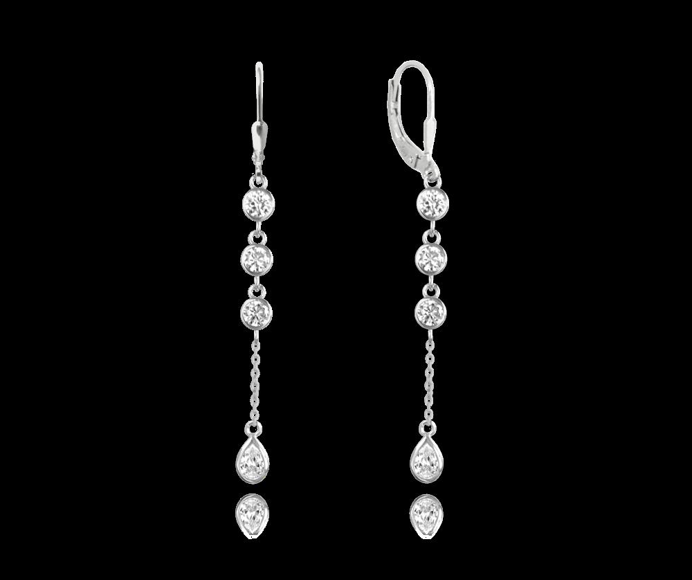 MINET Stříbrné visací náušnice MINET s bílými zirkony JMAS0088SE00