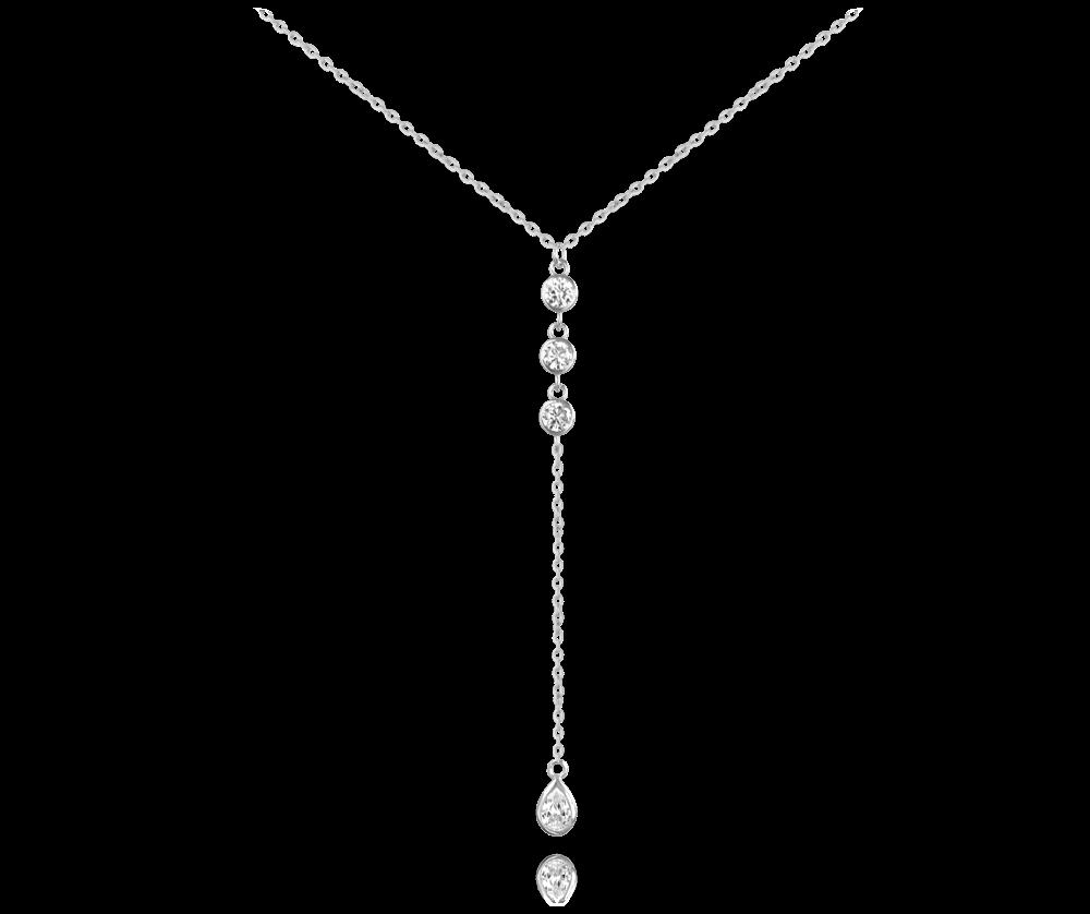 MINET Stříbrný visací náhrdelník MINET s bílými zirkony JMAS0088SN40