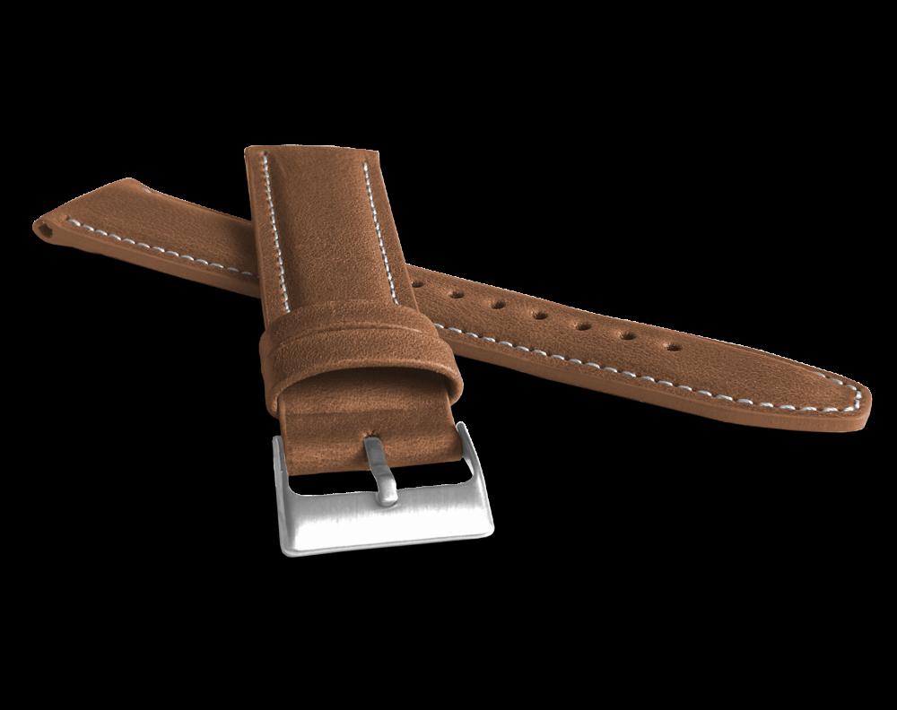 Polstrovaný hnědý prošitý řemínek LAVVU CLASSIC z luxusní kůže Top Grain - 26