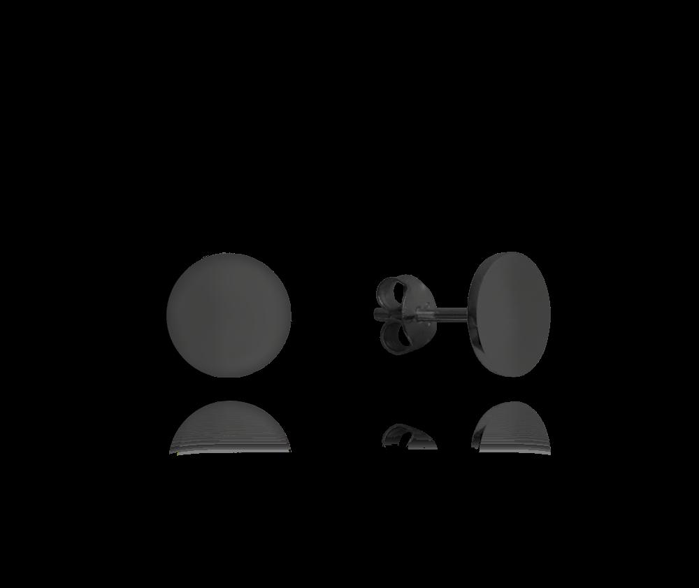 MINET Černé lesklé stříbrné náušnice MINET 9 mm JMAN0181BE09