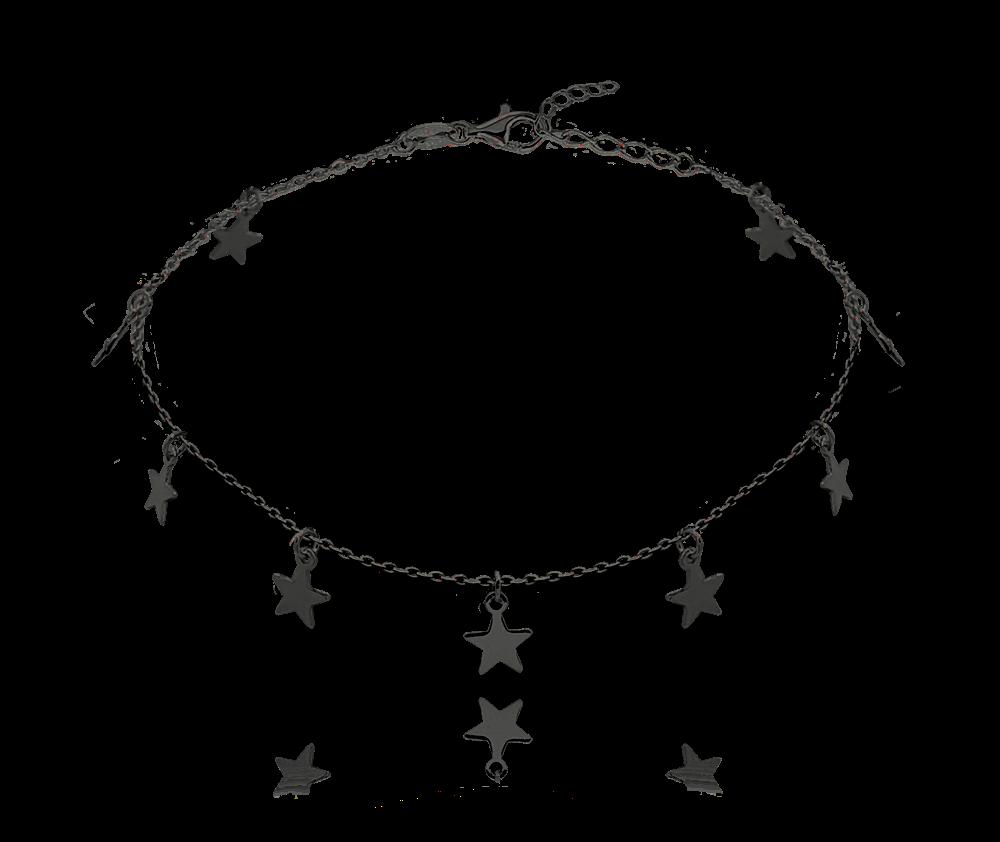 Černý stříbrný řetízek na kotník MINET s hvězdičkami