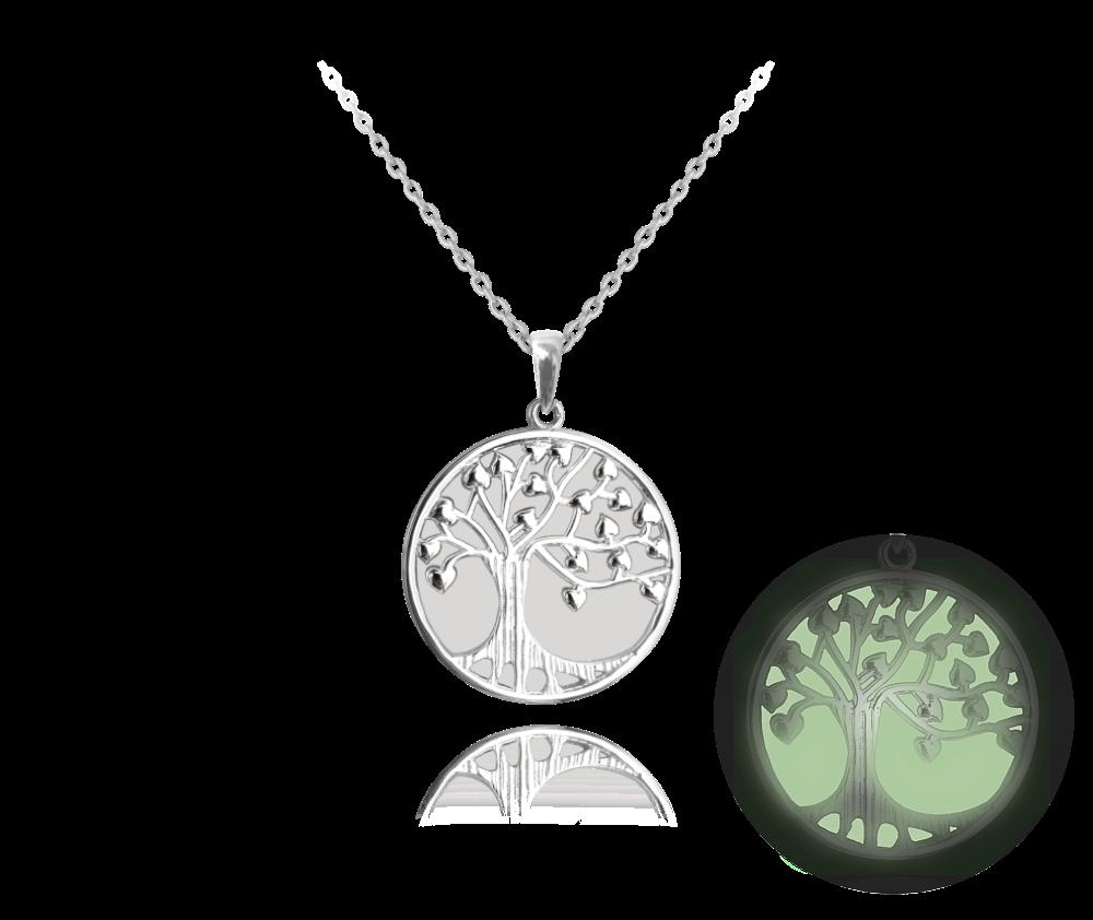 MINET Bílý svítící stříbrný náhrdelník MINET STROM ŽIVOTA JMAS5033WN45