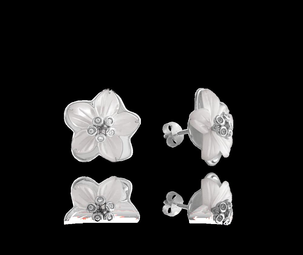 Velké bílé stříbrné náušnice MINET KVĚTY se zirkony